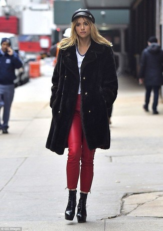 How to wear: black fur coat, white v-neck t-shirt, red leather skinny jeans, black chunky leather lace-up ankle boots