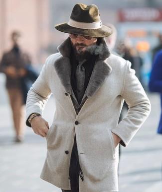 How to wear: beige fur collar coat, grey herringbone wool blazer, black dress shirt, black dress pants