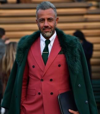 How to wear: dark green fur collar coat, red double breasted blazer, white dress shirt, dark green print tie