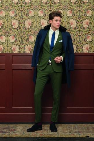 Men's Navy Fur Collar Coat, Dark Green Suit, White Dress Shirt, Black Suede Brogues