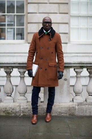 How to wear: brown fur collar coat, navy suit, white dress shirt, brown leather monks