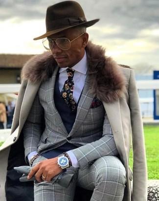 How to wear: beige fur collar coat, grey check suit, navy waistcoat, white dress shirt