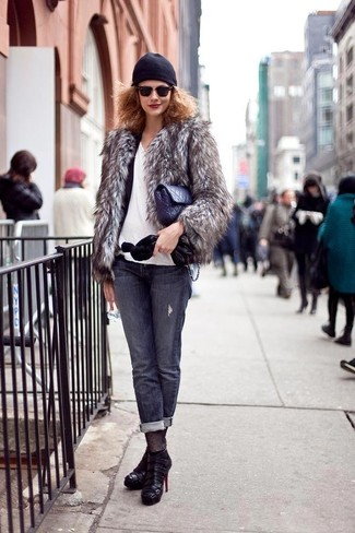 How to wear: grey fur jacket, black blazer, white v-neck t-shirt, charcoal jeans