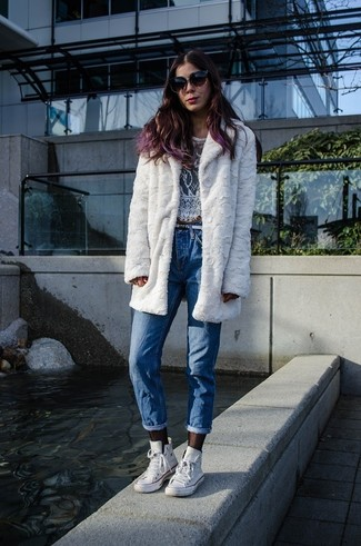 Women's White Fur Jacket, White Lace Cropped Top, Blue Boyfriend Jeans, White High Top Sneakers