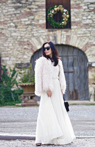How to wear: white fur jacket, white pleated maxi dress, black suede mules, black suede clutch