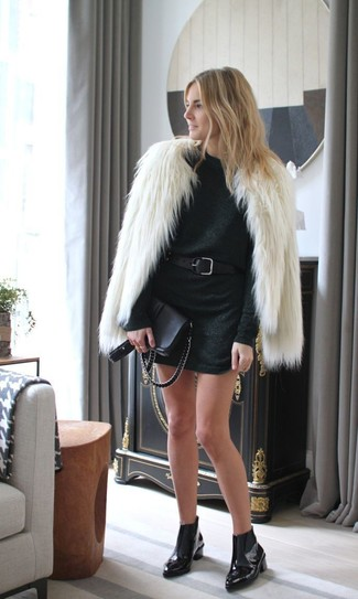 Women's Beige Fur Jacket, Black Sweater Dress, Black Leather Chelsea Boots, Black Leather Crossbody Bag