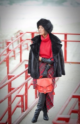 How to wear: black fur jacket, red knit turtleneck, red plaid pencil skirt, black leather over the knee boots