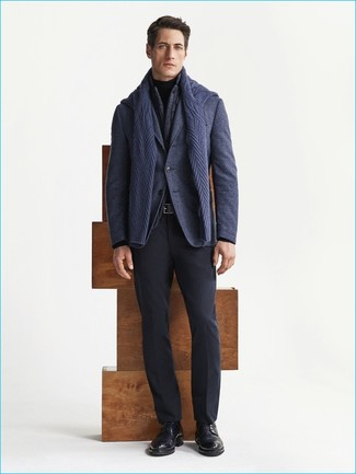 How to wear: charcoal gilet, navy wool blazer, navy cable sweater, black turtleneck