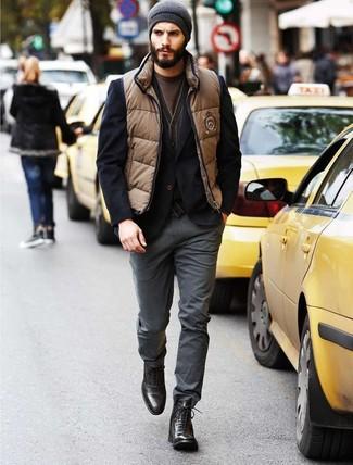 How to wear: tan gilet, black blazer, brown cardigan, brown crew-neck t-shirt