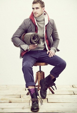 How to wear: red quilted gilet, brown gingham wool blazer, beige turtleneck, charcoal chinos