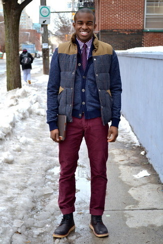 How to wear: navy wool gilet, navy cardigan, white and red gingham dress shirt, burgundy corduroy jeans