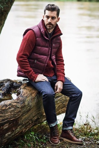 How to wear: purple quilted gilet, red cardigan, black long sleeve shirt, navy jeans
