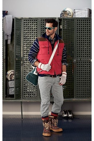How to wear: red quilted gilet, navy horizontal striped hoodie, navy plaid long sleeve shirt, grey jeans