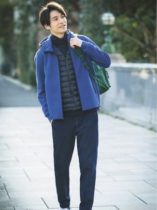 How to wear: navy gilet, blue hoodie, navy turtleneck, navy jeans