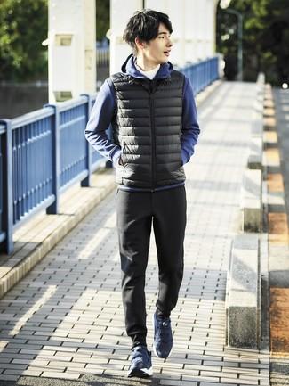 How to wear: black gilet, navy hoodie, white turtleneck, black sweatpants