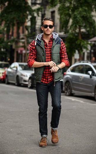How to wear: olive quilted gilet, red and black gingham long sleeve shirt, black jeans, brown suede desert boots