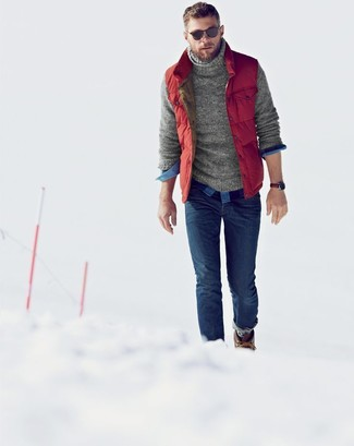 How to wear: red quilted gilet, grey knit turtleneck, blue gingham long sleeve shirt, blue skinny jeans