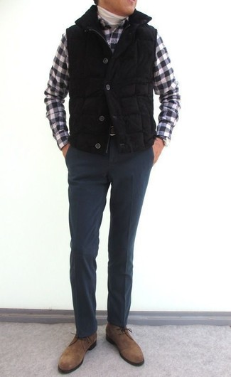How to wear: black quilted gilet, white turtleneck, black and white gingham long sleeve shirt, charcoal wool dress pants