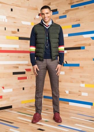 How to wear: dark green gilet, navy v-neck sweater, white vertical striped dress shirt, brown check wool dress pants