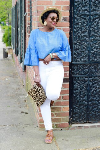 How to wear: tan leopard suede clutch, tan leather gladiator sandals, white jeans, light blue chambray long sleeve blouse