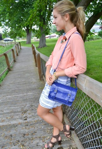 How to wear: blue leather satchel bag, charcoal leather gladiator sandals, white and blue horizontal striped mini skirt, pink button down blouse