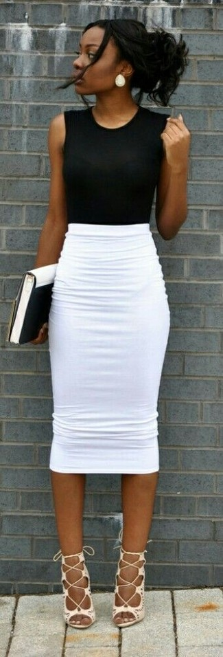 How to wear: white and black leather clutch, white leather gladiator sandals, white pencil skirt, black sleeveless top