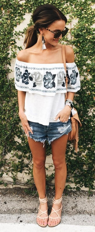 How to wear: tan leather crossbody bag, beige leather gladiator sandals, navy denim shorts, white floral off shoulder top