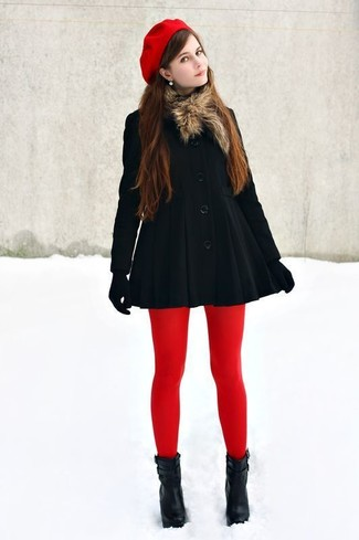 How to wear: red beret, black wool gloves, black leather ankle boots, black coat