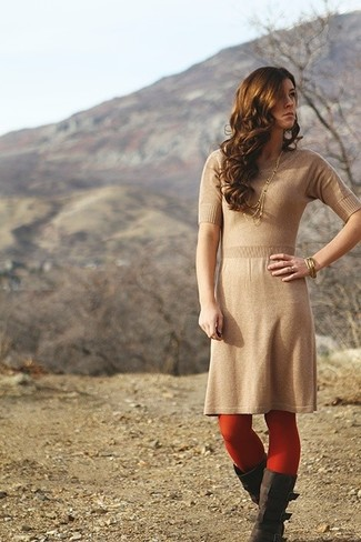 How to wear: red tights, gold bracelet, dark brown suede knee high boots, tan knit sheath dress