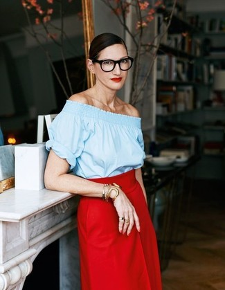 How to wear: gold bracelet, red midi skirt, light blue off shoulder top