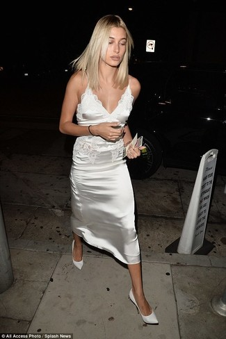 How to wear: gold bracelet, white leather pumps, white satin cami dress