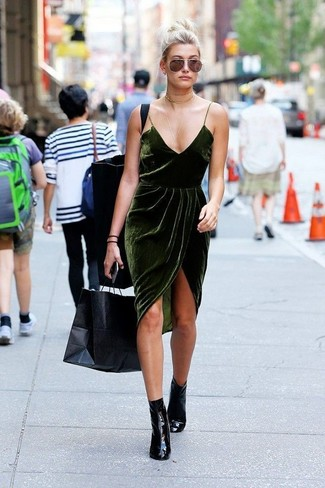 How to wear: gold choker, black leather ankle boots, dark green velvet cami dress