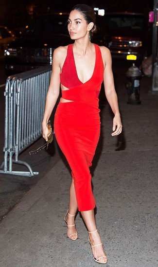 Women's Looks & Outfits: What To Wear In 2020: This ensemble with a red cutout sheath dress isn't super hard to score and easy to adapt. This outfit is completed perfectly with beige leather heeled sandals.