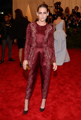 How to wear: gold clutch, burgundy suede pumps, burgundy lace jumpsuit