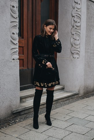 How to wear: gold earrings, black suede over the knee boots, black embroidered velvet fit and flare dress