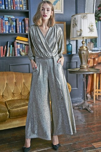 How to wear: gold earrings, black suede pumps, silver jumpsuit