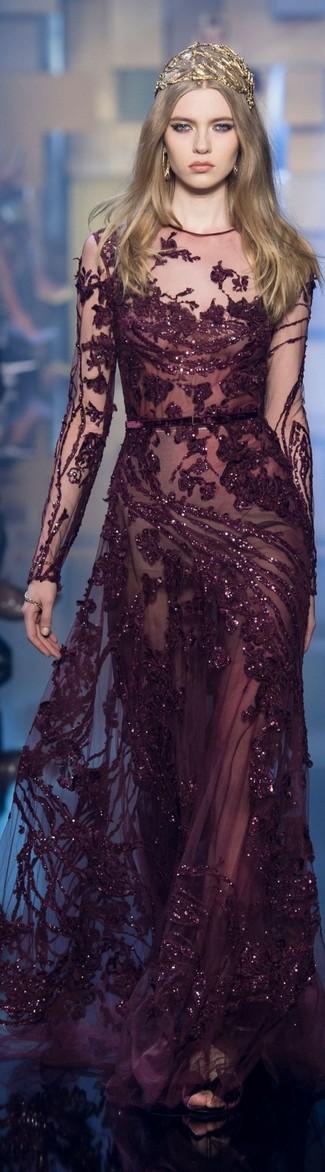 How to wear: gold earrings, gold headband, dark purple sequin evening dress