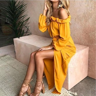 How to wear: gold earrings, tan leather heeled sandals, yellow off shoulder dress