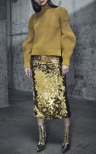 How to wear: gold leather ankle boots, gold sequin pencil skirt, gold wool turtleneck