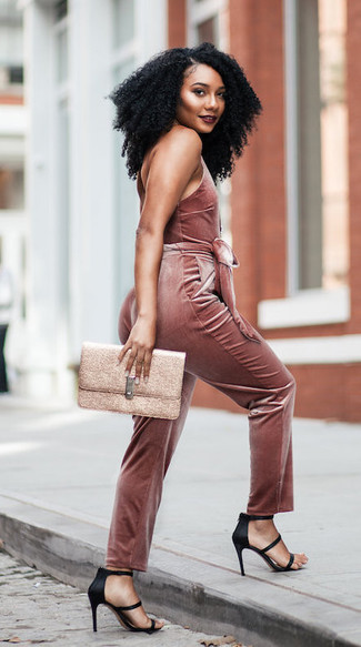 How to wear: gold leather clutch, black satin heeled sandals, pink velvet jumpsuit