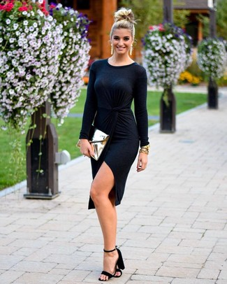 How to wear: gold leather clutch, black suede heeled sandals, black wrap dress