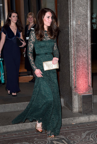 How to wear: gold leather clutch, gold leather heeled sandals, dark green lace evening dress