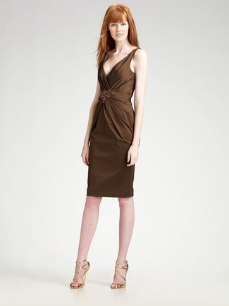 How to wear: gold leather heeled sandals, dark brown embellished sheath dress