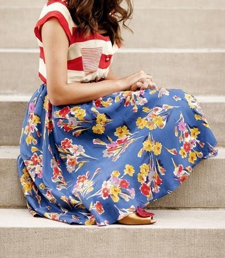 How to wear: gold cutout leather pumps, blue floral full skirt, white and red horizontal striped crew-neck t-shirt