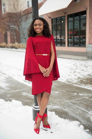 How to Wear a Red Sheath Dress: For an outfit that's super easy but can be styled in many different ways, reach for a red sheath dress. On the shoe front, this ensemble pairs nicely with red suede pumps.