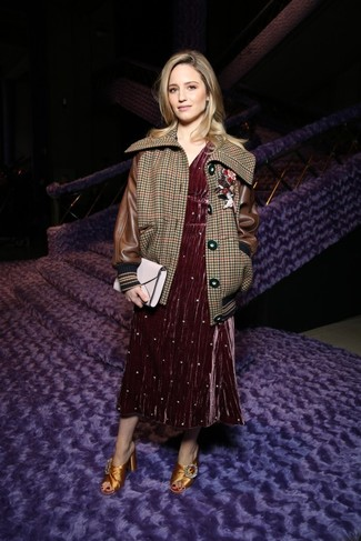 Women's Looks & Outfits: What To Wear In 2020: A brown houndstooth bomber jacket and a burgundy velvet midi dress? It's an easy-to-wear outfit that you can rock on a daily basis. Feel uninspired with this look? Invite gold embellished satin mules to spice things up.