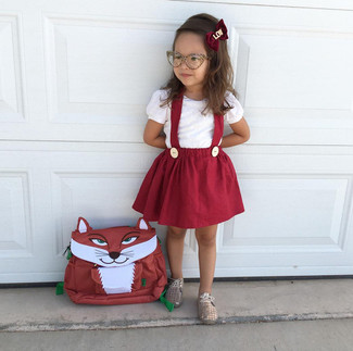 How to wear: red backpack, gold oxford shoes, red skirt, white t-shirt