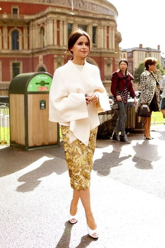 How to wear: white cutout leather pumps, gold sequin pencil skirt, beige crew-neck sweater, beige cape coat
