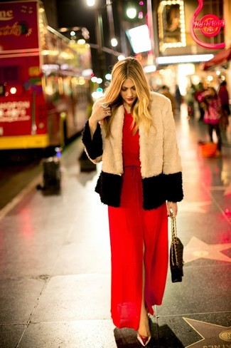 How to wear: black quilted leather satchel bag, gold leather pumps, red slit maxi dress, beige fur jacket