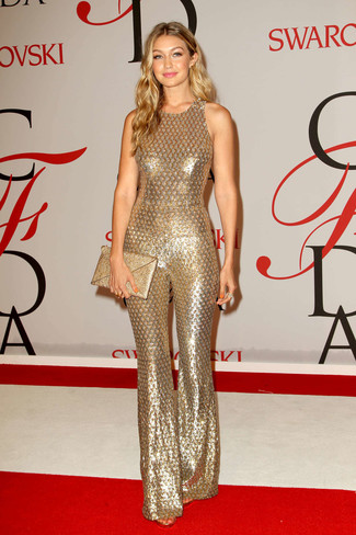 Gigi Hadid wearing Gold Sequin Jumpsuit, Gold Sequin Clutch